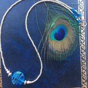 Jewelry - 303: Blue Rain Venetian Glass Necklace